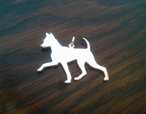 Min Pin Minature Pincher Charm silhouette solid sterling silver Handmade in the Uk